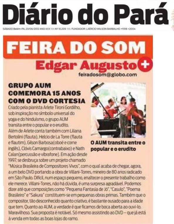 AUM no Diário do Pará 2 2012